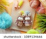 handmade knitted toy. easter...   Shutterstock . vector #1089134666