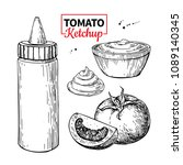ketchup sauce bottle with... | Shutterstock .eps vector #1089140345