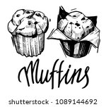 sketch of muffin. hand drawn... | Shutterstock .eps vector #1089144692