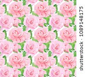 seamless watercolor roses... | Shutterstock . vector #1089148175