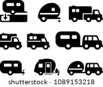 camper trailer icons   black... | Shutterstock .eps vector #1089153218