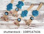 turkish evil eye beaded door...   Shutterstock . vector #1089167636
