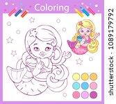coloring book wih cute mermaid. ...   Shutterstock .eps vector #1089179792