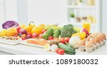 assortment of fresh fruits and... | Shutterstock . vector #1089180032