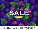 tropical background. summer... | Shutterstock .eps vector #1089186842