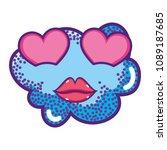 kawaii love cloud with cute lips | Shutterstock .eps vector #1089187685