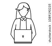 line elegant businesswoman... | Shutterstock .eps vector #1089190235