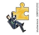 doodle businessman climbing of... | Shutterstock .eps vector #1089191552