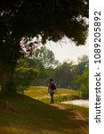 man traveler with backpack... | Shutterstock . vector #1089205892