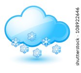 Single weather icon - Cloud with Snow. Illustration on white - stock vector