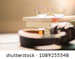 eyes glasses on books with... | Shutterstock . vector #1089255548