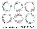 watercolor wreath frame with...   Shutterstock . vector #1089272366