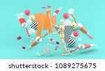 wooden puppet painting amidst... | Shutterstock . vector #1089275675