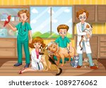 a vet doctor team at clinic... | Shutterstock .eps vector #1089276062