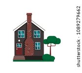 vector flat suburban house.... | Shutterstock .eps vector #1089279662