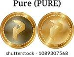 set of physical golden coin... | Shutterstock .eps vector #1089307568