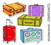 set travel bags  retro suitcase ... | Shutterstock .eps vector #1089314672