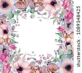 watercolor floral frame hand... | Shutterstock . vector #1089348425