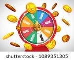 wheel of fortune with money... | Shutterstock .eps vector #1089351305