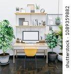 workspace mockup with computer | Shutterstock . vector #1089359882