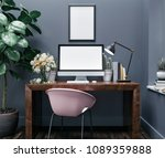 workspace mockup with computer  | Shutterstock . vector #1089359888
