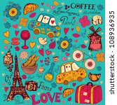 vector set of paris symbols.... | Shutterstock .eps vector #108936935