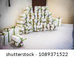 the box of wedding favors | Shutterstock . vector #1089371522