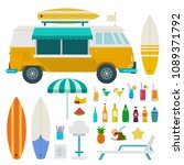 travel truck beach and drinks... | Shutterstock .eps vector #1089371792