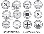 tourist stamps and postmarks.... | Shutterstock . vector #1089378722