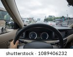 driving car on city street in... | Shutterstock . vector #1089406232