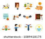 law icon set. copyright hand... | Shutterstock .eps vector #1089418175