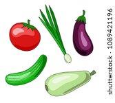 set of vegetable icons on white ... | Shutterstock .eps vector #1089421196