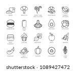 food vector icons set. twenty... | Shutterstock .eps vector #1089427472