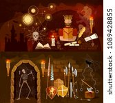 medieval banners  old king ... | Shutterstock .eps vector #1089428855