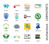 set of 16 simple editable icons ... | Shutterstock . vector #1089429872