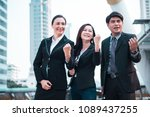 happy smiling businesspeople... | Shutterstock . vector #1089437255