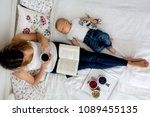 mother and toddler baby boy ... | Shutterstock . vector #1089455135