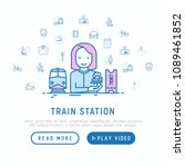 train station concept with thin ... | Shutterstock .eps vector #1089461852