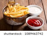 french fries with ketchup on... | Shutterstock . vector #1089463742