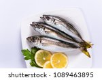 Stock photo white plate of horse mackerel 1089463895