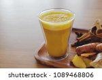 turmeric latte  golden milk ... | Shutterstock . vector #1089468806
