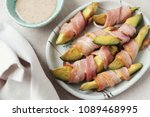 low carb keto baked becon... | Shutterstock . vector #1089468995