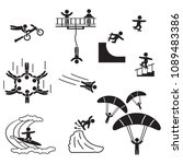 extreme sports icon set. people ... | Shutterstock .eps vector #1089483386