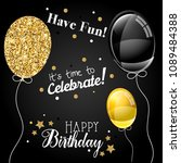 happy birthday greeting card | Shutterstock . vector #1089484388