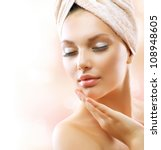 spa woman. beautiful girl after ... | Shutterstock . vector #108948605
