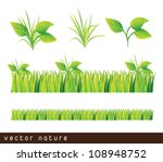 green grass and leaves over... | Shutterstock .eps vector #108948752