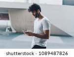 stylish young bearded man in... | Shutterstock . vector #1089487826