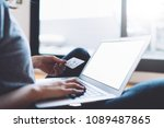 woman using laptop for ordering ... | Shutterstock . vector #1089487865