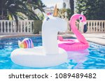 inflatable colorful white... | Shutterstock . vector #1089489482