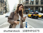 travel blogger using route... | Shutterstock . vector #1089491075
